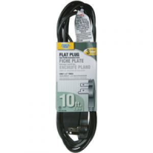 CORD FLAT EXT BLK 3OUT 10FT