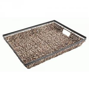 Gibson Home 18.5 in Seagrass Rectangular tray with Metal Frame