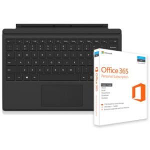 Microsoft Type Cover for Surface Pro 4 (Black) + Microsoft Office 365 Personal Subscription
