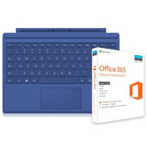 Microsoft Type Cover for Surface Pro 4 (Blue) + Microsoft Office 365 Personal Subscription