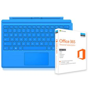 Microsoft Surface Pro 4 Type Cover (Bright Blue) +Microsoft Office 365 Personal Subscription