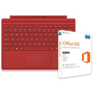 Microsoft Type Cover for Surface Pro 4 (Red) + Microsoft Office 365 Personal Subscription