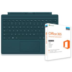 Microsoft Type Cover for Surface Pro 4 (Teal) + Microsoft Office 365 Personal Subscription