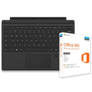 Microsoft Surface Pro 4 Type Cover with Fingerprint ID (Black) + Microsoft Office 365 Personal Subscription