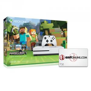 Microsoft Xbox One S Minecraft Favorites Bundle (500GB) + $50 ANT eGift Card