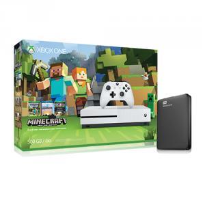 Microsoft Xbox One S Minecraft Favorites Bundle (500GB) + WD 1TB Elements Portable External Hard Drive