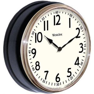 "Westclox 12"" Round Vintage Clock Black 32041AB"