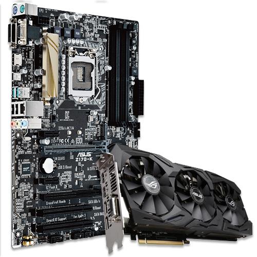 Asus Z170-K Desktop Motherboard + ROG STRIX-GTX1070-8G-GAMING GeForce GTX 1070 Graphic Card