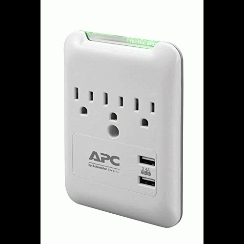 Open Box: APC Wall Outlet Surge Protector with USB Ports, PE3WU3, (3) AC Multi Plug Outlet, 540 Joule Surge Protection