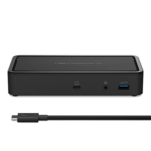Open Box: Belkin Thunderbolt 3 Dock Plus w/ 2.6ft Thunderbolt 3 Cable (Thunderbolt Dock for macOS and Windows) Dual 4K @60Hz, 40Gbps Transfer Speeds, 60W Upstream Charging