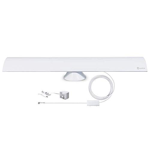 Open Box: ANTOP HDTV Antenna 65 Miles Range Smartpass Amplified Digital TV Antenna Indoor with 10ft Detachable Coaxial Cable, Multi-Directional Reception and Built-in 4G LTE Filter AT-215B
